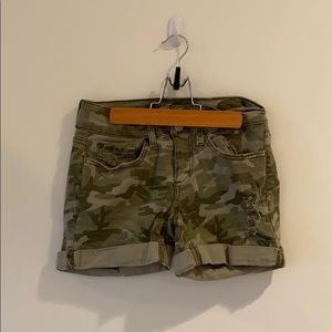 Army Green Camouflage Teen Girl Jean Shorts